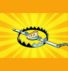 iron trap with cheese mousetrap vector image