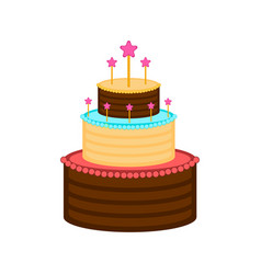 isolated birthday cake icon vector image