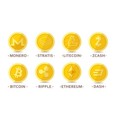 main cryptocurrency coins set vector image vector image