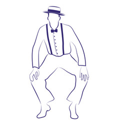 Man with hat dancing charleston ink line drawing vector