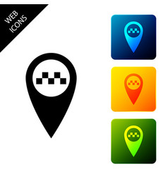 map pointer with taxi icon isolated on white vector image