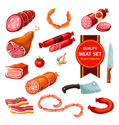 Meat and sausages with garlic tomato vector