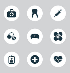 Medicine icons set collection of beating vector