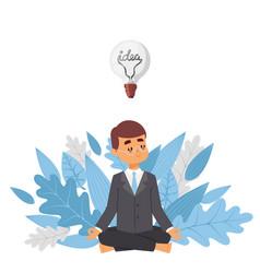 Meditating businessman with idea vector