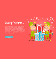merry christmas elves standing near gift boxes vector image