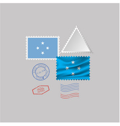 Micronesia flag postage stamp set isolated on vector