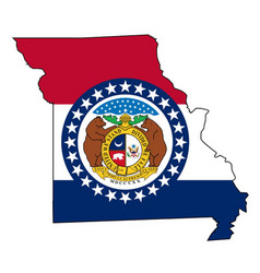 Missouri outline map and flag vector