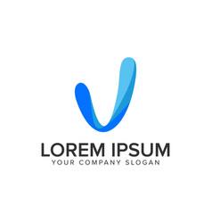 modern letter v logo design concept template vector image
