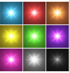 nine different color backgrounds with bright light vector image
