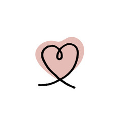 outline icon heart shape on red blob vector image