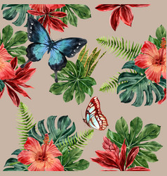 Pattern design with butterfly with foliage vector