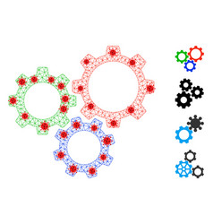 Polygonal carcass gear box pictograph with covid19 vector