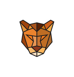 polygonal puma emblem isolated vector image