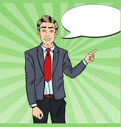 pop art business man pointing finger on copy space vector image