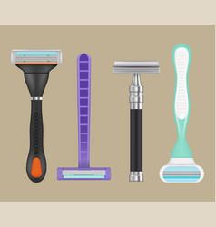 Razors realistic woman depilation items shaving vector