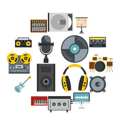recording studio items icons set in flat style vector image