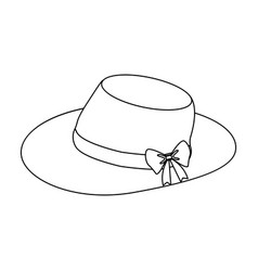 Red female hat with a bow summer hat for adult vector