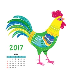 Roosters calendar may vector