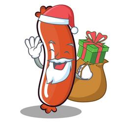 santa sausage character cartoon style vector image