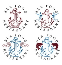 sea food vintage labels set vector image