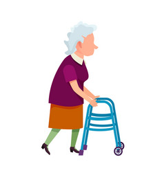 senior grandmother moving with help of walker vector image