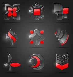 set abstract glass design elements vector image