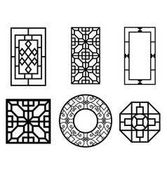 Set of chinese window with pattern vector