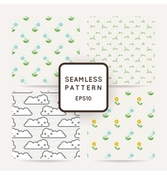 Set of four seamless patterns of wildflowers rain vector