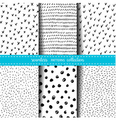 Set of six hand drawn ink seamless patterns vector
