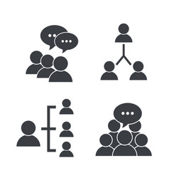 Set pictogram social group with chat bubble vector