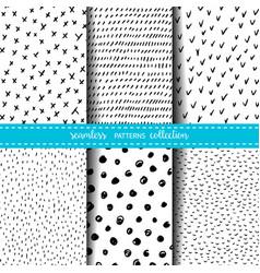 Set six hand drawn ink seamless patterns vector