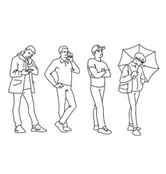 Set young and adult men standing monochrome vector