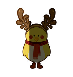Silhouette christmas of chicken with horns of vector