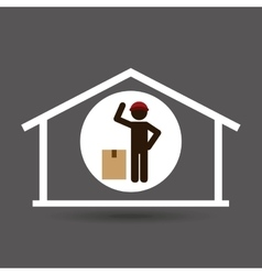 Silhouette worker cardboard box delivery vector