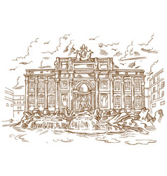 sketch of trevi fountain vector image
