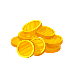 Small heap of shiny golden coins symbol of wealth vector