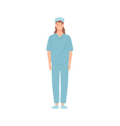 Smiling female nurse clinic employee standing vector