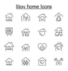 Stay home icon set in thin line style vector