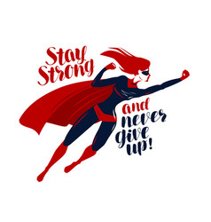 supergirl superhero flying up rapidly stay vector image
