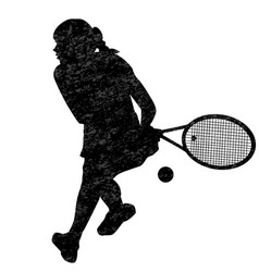 tennis woman player silhouette vector image
