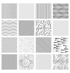 Thin line pattern set Crossing and slanted wavy vector image