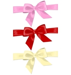 Three colorful holiday bow vector image