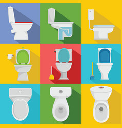 Toilet bowl icons set flat style vector