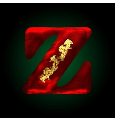Velvet z letter with gold vector