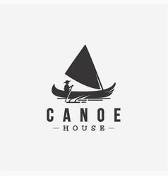 Vintage label logo canoe sailing vector