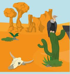 Vultures on desert vector