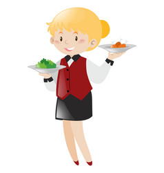Waitress serving food on white background vector
