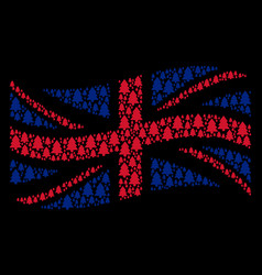 Waving great britain flag mosaic of fir-tree icons vector