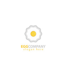 white background with beautiful fried egg logo vector image