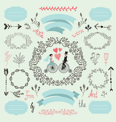Wintage wedding set romantic love vector